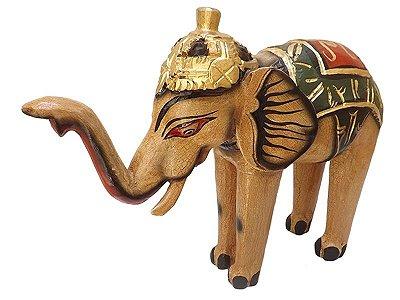 Escultura de Elefante em Madeira 45cm - Bali
