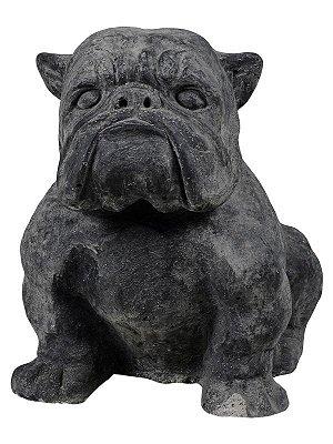 Escultura Bulldog Pedra p/ Jardim 25x18cm