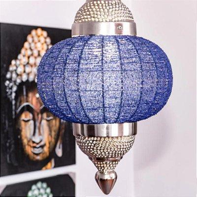 Luminária Pendente Indiano Miçangas Azul