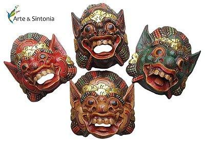 Máscara em Madeira Barong 22cm - Protetor de Bali