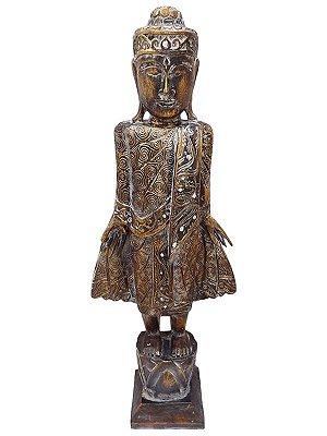 """Escultura em Madeira de Bali """"Buda em Pé"""" 105cm - Arte Pátina"""