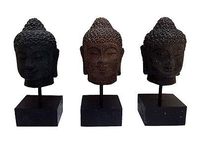 Cabeça de Buda em Pedra no Pedestal 20cm - Arte Bali