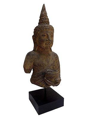Busto de Buda Rústico em Pedra 45cm - Bali