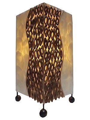 Abajur Rústico de Bambu e Madrepérola 30x15cm - Arte Bali