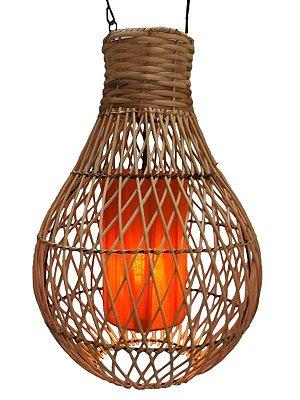 Luminária de Fibra Natural e Tecido 50cm - Arte Bali