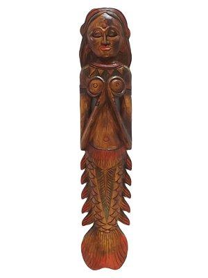 """Escultura """"Sereia"""" em Madeira 100cm - Bali"""