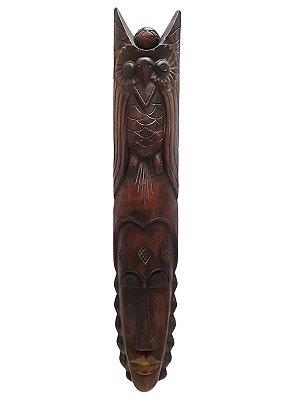 Máscara em Madeira Coruja 100cm - Bali