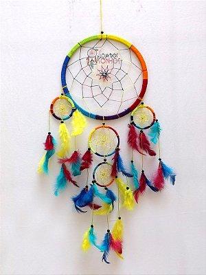 Filtro dos Sonhos (Dream Catcher) Colorido 55cm