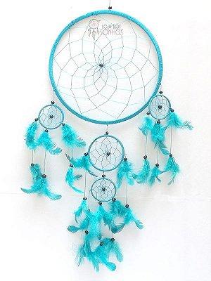 Apanhador de Sonhos (Dream Catcher) Azul Claro 63cm