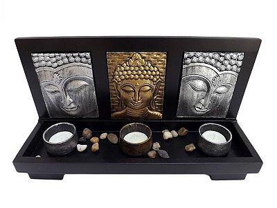 """Porta Velas """"Zen Buddha"""" em Madeira 32cm"""