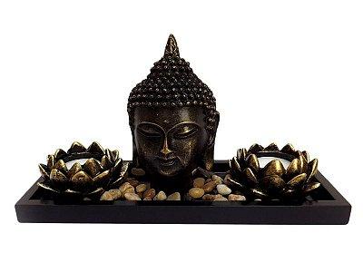 """Porta Velas """"Zen Budista"""" em Resina p/ Decoração 17x27cm"""