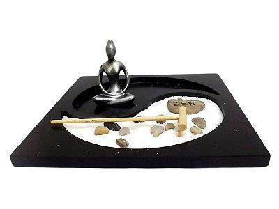 "Jardim Zen ""Yoga"" em Resina 10x22cm"