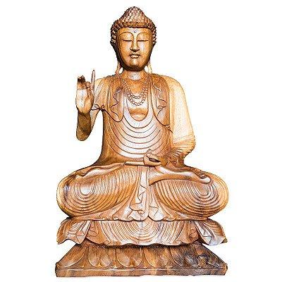 Buda Meditando em Madeira 80cm - Bali