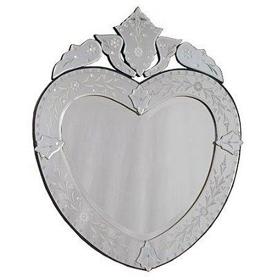 """Espelho """"Coração"""" 75cm - Estilo Veneziano"""