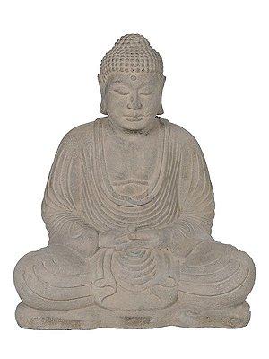 Escultura Buda Meditando em Pedra p/ Jardim 30/40/50cm