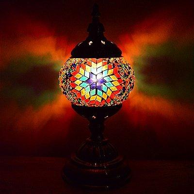 Abajur Turco em Mosaico Colorido 30cm
