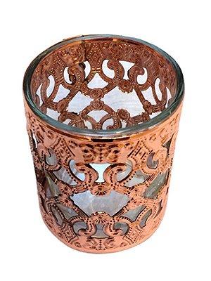 Cachepot p/ Vela em Vidro e Metal Bronze 07cm