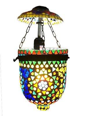 """Luminária Marroquina """"Mosaico Colorido"""" 28cm"""