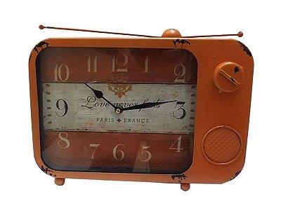 Relógio de Mesa em Metal Rústico 23x33cm