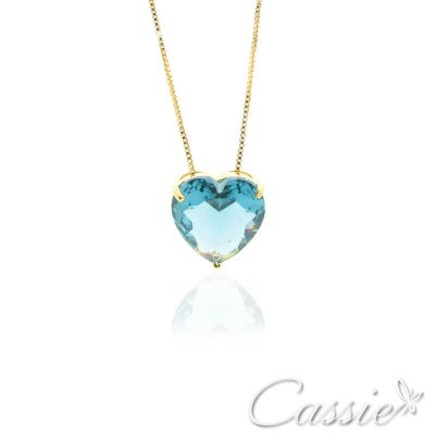 Colar Coração Zircônia Azul