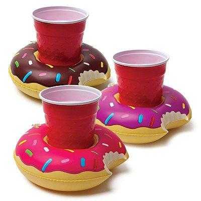 Bóia Porta Drinks e Celulares Rosquinha Pink