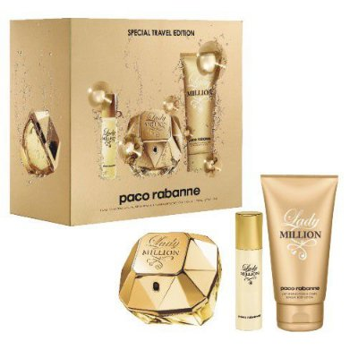 Kit Lady Million Feminino 80ml + Miniatura 10ml + Body Lotion 100ml