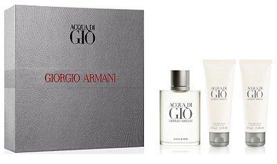 Kit Acqua di Gió Masculino 50ml + Gel de Banho 75ml + Pós Barba 75ml