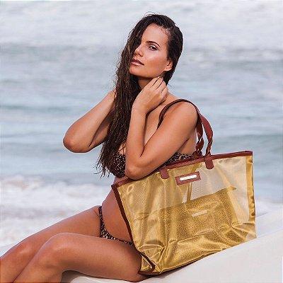 Bolsa de praia dourada dupla face tela