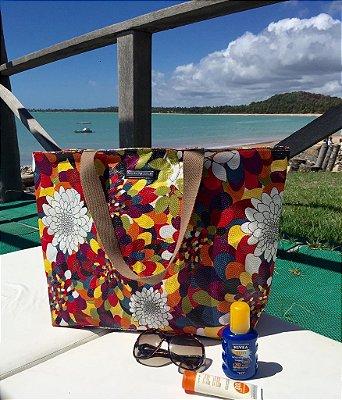 Bolsa de praia estampa floral mar