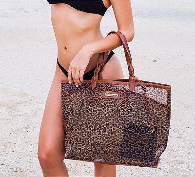 Bolsa praia estampa oncinha tela dupla