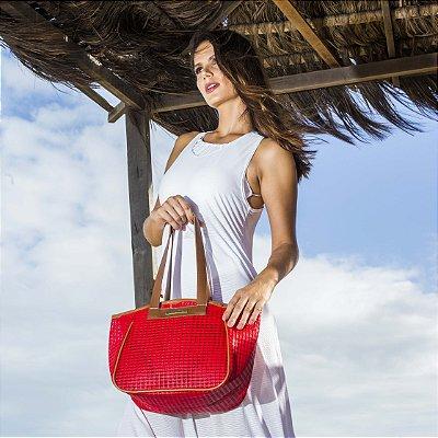 Bolsa de praia vermelha tela vazada