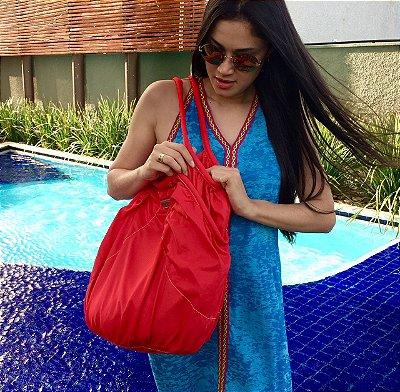 Bolsa grande de nylon vermelha sol