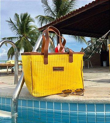 Bolsa de Praia Amarela de Tela Quadrada