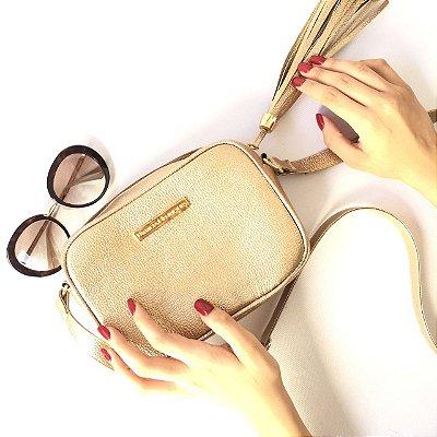 Bolsa de Couro Pequena Dourada Vip