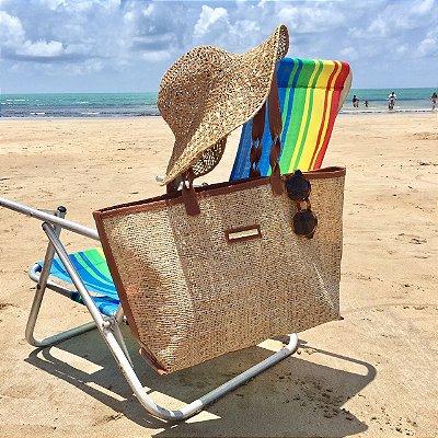 Bolsa de praia de palha tela palhinha dupla