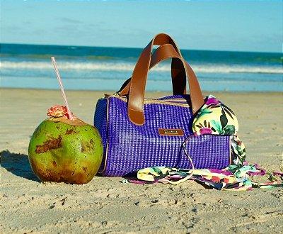 Bolsa de praia roxa em tela Basset