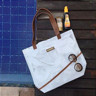 Bolsa de praia branca em tela Leve