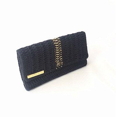 Carteira de crochet preta correntes