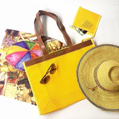 Bolsa de Praia em Tela Amarela Horizontal
