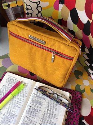 bolsa de biblia lisa laranja em nylon