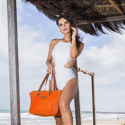 Bolsa praia Laranja em tela quadrada