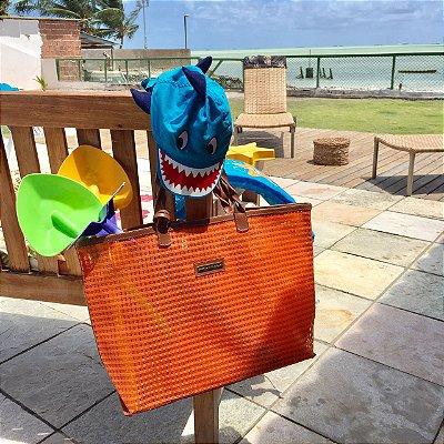 Bolsa de praia laranja dupla tela