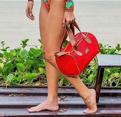 Bolsa de praia Vermelha em tela Basset