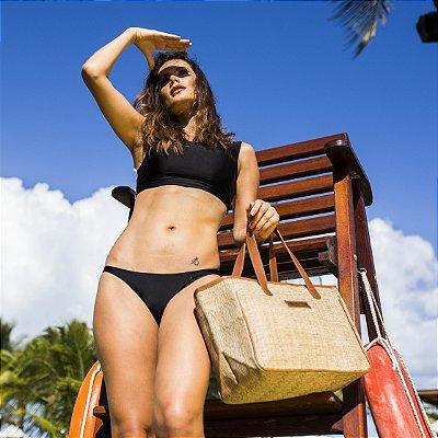 Bolsa de praia tela quadrada palhinha