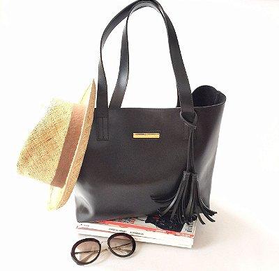 Bolsa de Couro Preta Fashion