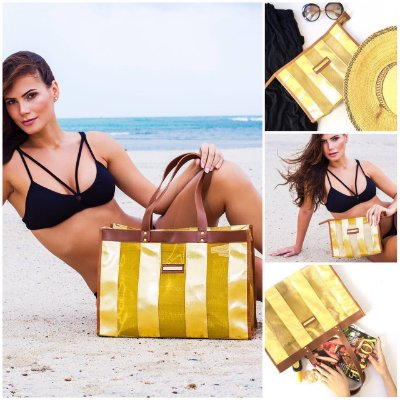 Kit Bolsa de praia em tela dourada listras e Necessaire Dourada Listras