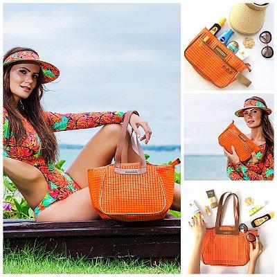 Kit bolsa de praia em tela laranja Vazada e Necessaire tela laranja