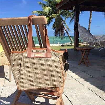 Bolsa de praia Bege em tela vazada