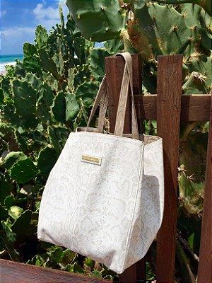 Bolsa de couro branca dupla face