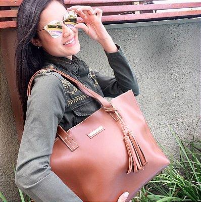Bolsa de Couro Caramelo Fashion